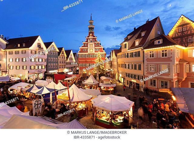 Illuminated Christmas market in front of the old city hall, Esslingen am Neckar, Baden-Württemberg, Germany