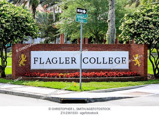 Flagler College Sign in St. Augustine FL