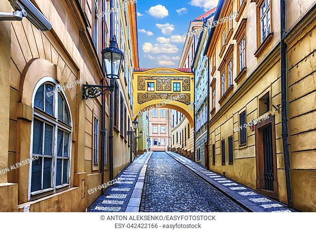 Medieval lane of Prague with a loggia e the buildings, Thunovska street