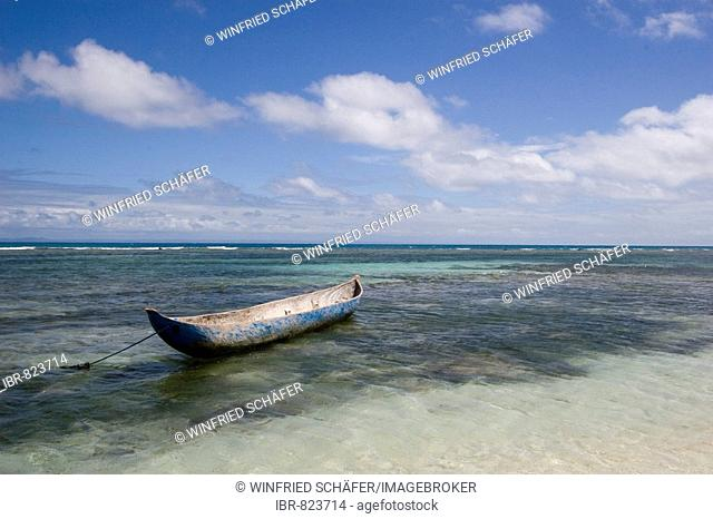 Boat on a beach, Nosy Nato, Madagascar, Africa