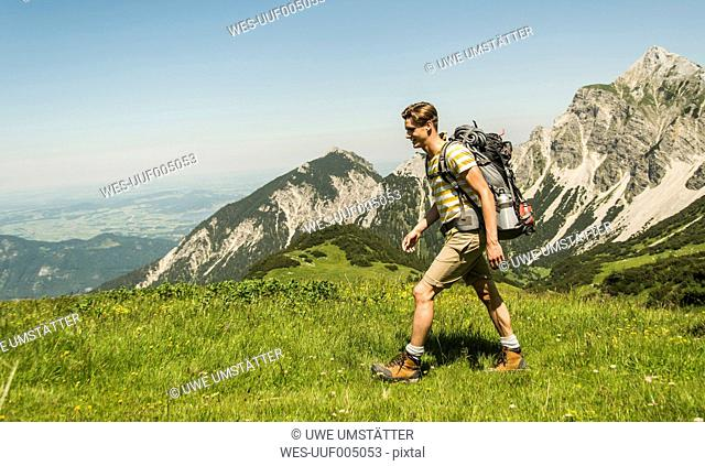 Austria, Tyrol, Tannheimer Tal, young man hiking on alpine meadow