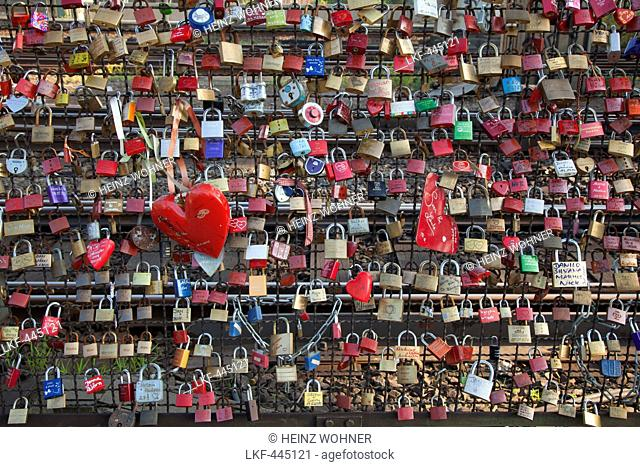Love locks at Hohenzollern bridge, Cologne, Rhine river, North Rhine-Westphalia, Germany