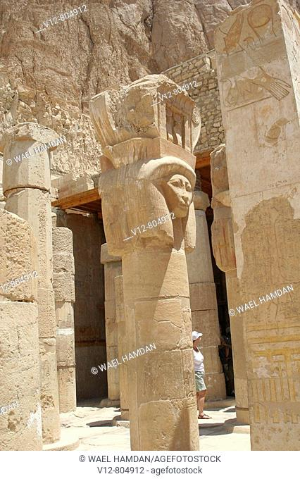 Goddess hathor,Temple of Queen Hatshepsut Deir el-Bahri,luxor Thebes, Egypt