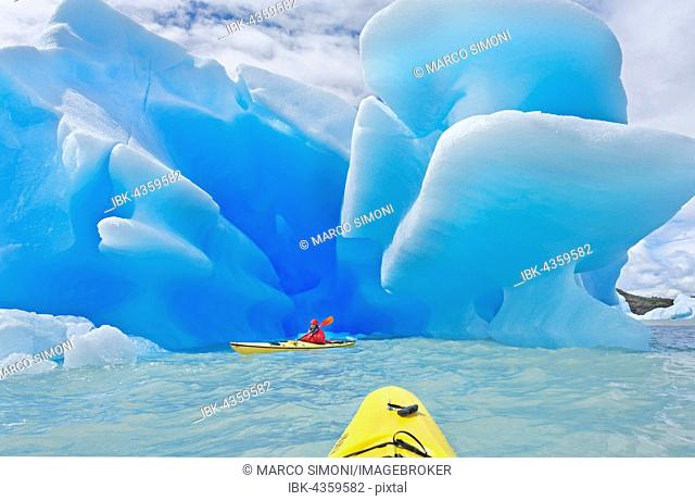 Kayaker heading for icebergs on lake, Lago Grey, Torres del Paine National Park, Patagonian Andes, Patagonia, Chile