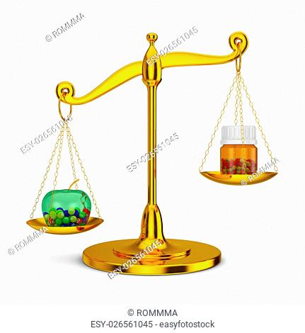 Gold mechanical scales on which are apple with vitamins and bottle with capsules