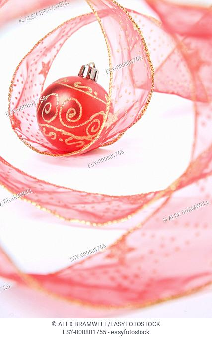 Red bauble and red ribbon arrangement