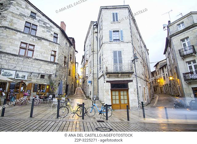 Nightscape in Perigueux, is a popular and interesting town, has a compact and mostly pedestrianised centre, New Aquitaine, Dordogne France on December 7, 2018