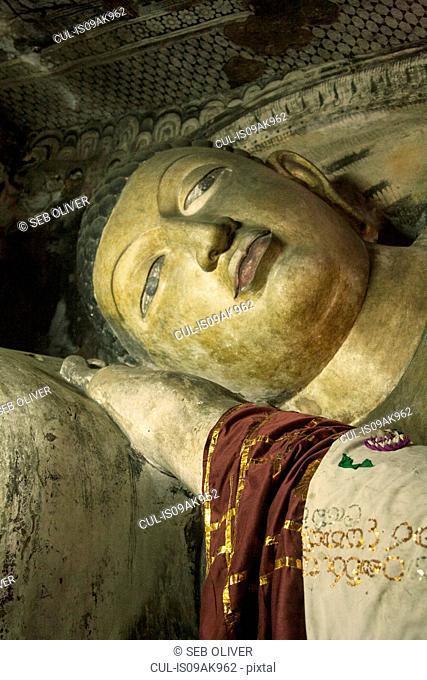 The face of reclining buddha, Rock Temple, Dambulla, Sri Lanka