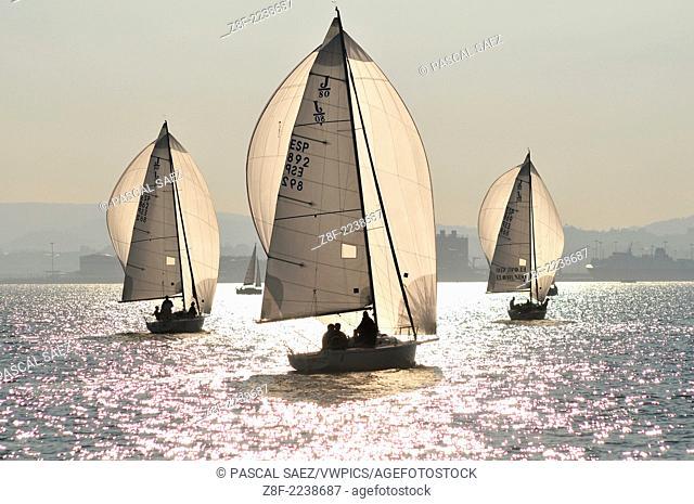 A regatta of sailing boats on Santander bay