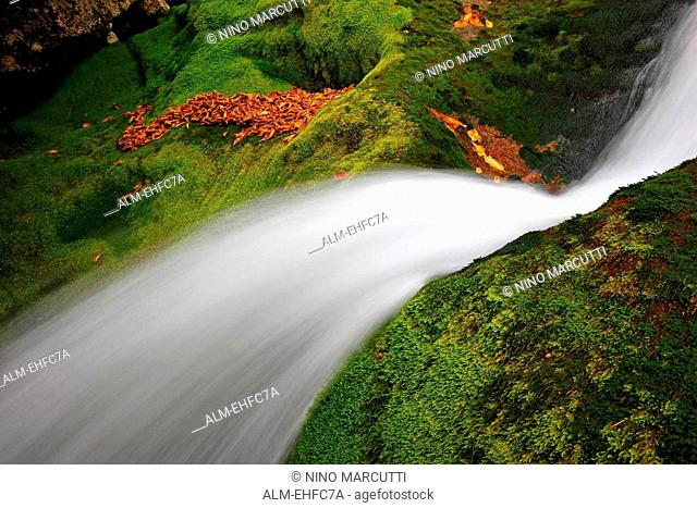 White waterfall close up. River Soca Slovenia, Europe. Slovenia, Europe