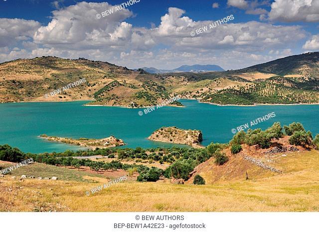 Panoramic view over Embalse de Zahara inland lake, Andalusia, Spain