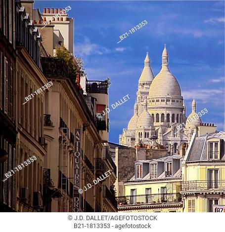 France-Paris- 'Sacré Coeur' from rue Drouot, at Paris