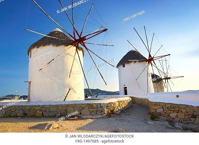 Windmills of Mykonos Town, Mykonos, Cyklades, Greece