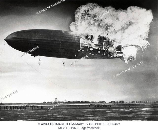 The Hindenburg Exploded Whilst Landing and Was Completely Consumed by Fire in 34 Seconds, 35 of 97 Passenger Died with Swastika Logo on the Tails