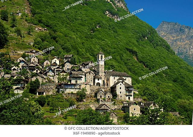 The listed village of Corippo, the smallest municipality in Switzerland, Verzasca valley,Ticino, Switzerland