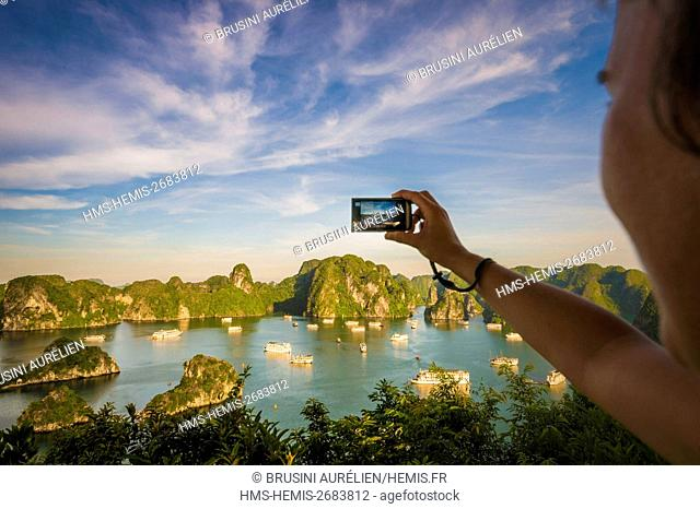 Vietnam, Gulf of Tonkin, Quang Ninh province, Ha Long Bay (Vinh Ha Long) listed as World Heritage by UNESCO (1994), iconic landscape of karst landforms