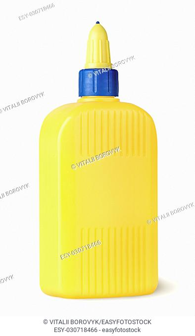 Plastic bottle of glue rotated isolated on white background