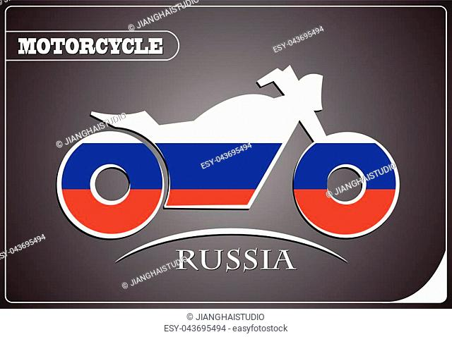 motorcycle logo made from the flag of Russia