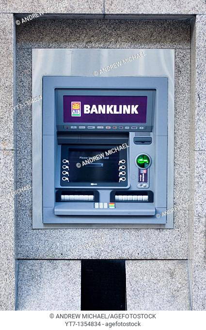 An AIB bank cashpoint machine on O'Connell street in Limerick, Ireland