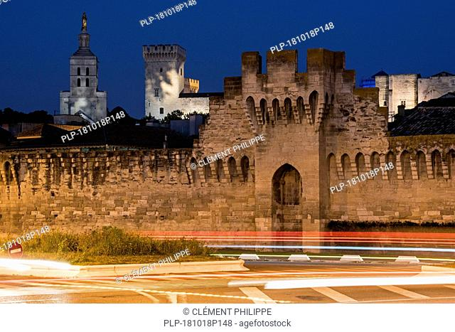 The Ramparts, Palais des Papes and cathedral illuminated at night in the city Avignon, Vaucluse, Provence-Alpes-Côte d'Azur, France