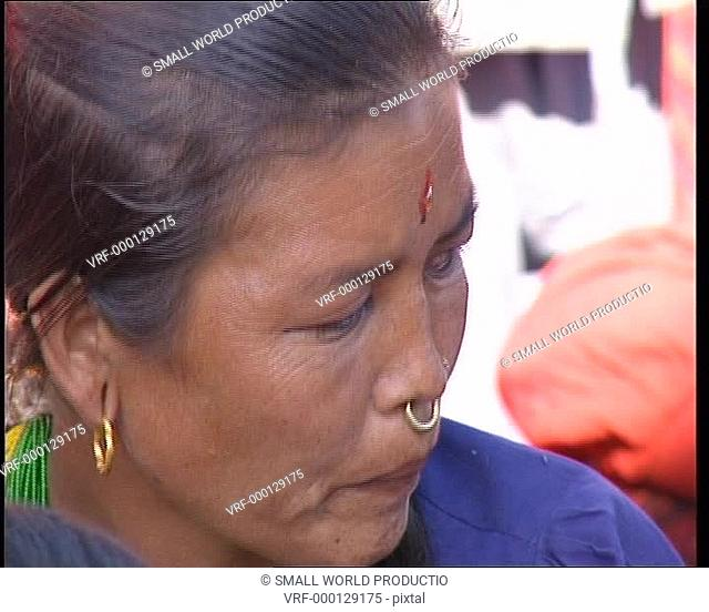 Close up of woman in traditional dress. Nepal
