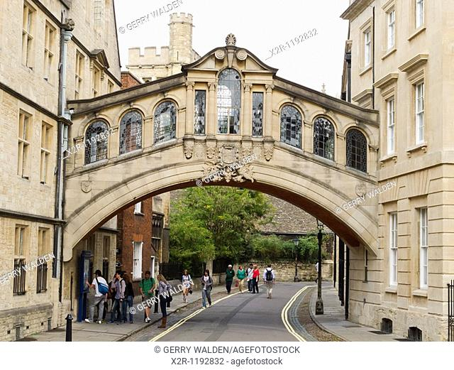 Hertford Bridge, popularly known as the Bridge of Sighs, over New College Lane in Oxford, England  The bridge was designed by Sir Thomas Jackson and completed...
