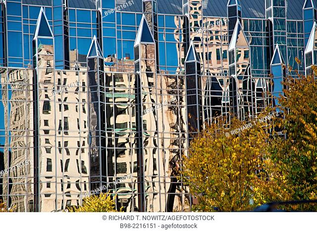 The PPG Place, also know as the Pittsburgh Plate Glass Building, an iconic part of the skyline, reflects other building in its mirror like exterior.