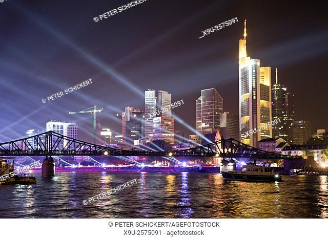 light show during the 25 Years of German Unity celebration and the skyline, Financial District and Main, Frankfurt am Main, Hesse, Germany, Europe