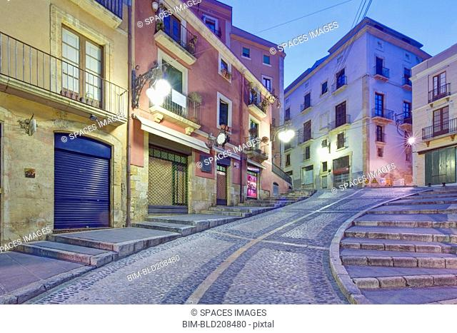 Historic old town in the center of Tarragona, with steep cobbled streets and old buildings
