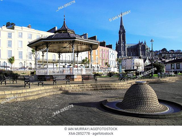 Town centre historic buildings and cathedral, Cobh, County Cork, Ireland, Irish Republic