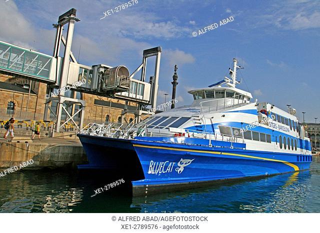 Catamaran, Port of Barcelona, Catalonia, Spain