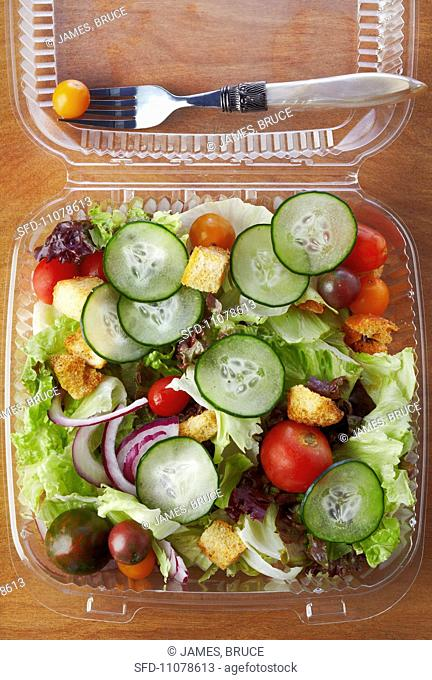 Salad in a Plastic To-Go Container, From Above