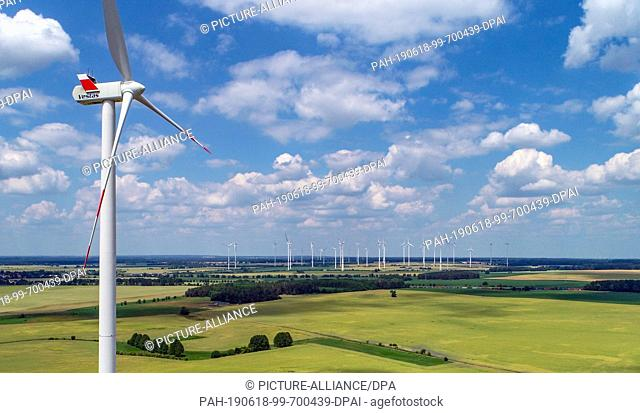 17 June 2019, Brandenburg, Biegen: A wind turbine of the manufacturer Vestas, recorded with a drone. Photo: Patrick Pleul/dpa-Zentralbild/ZB