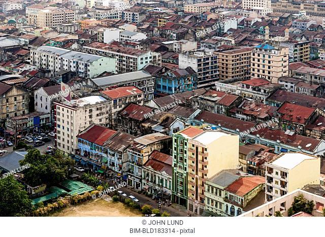 Aerial view of Rangon cityscape, Rangon Region, Myanmar