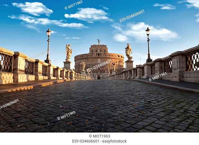 Castel and Bridge Sant Angelo, Rome, Italy