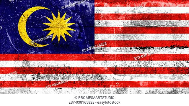 Malaysia Flag painted on grunge wall