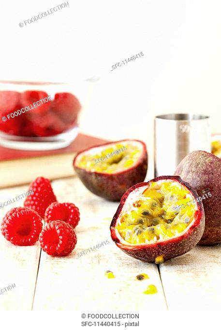 Ingredients for passion fruit and raspberry martinis
