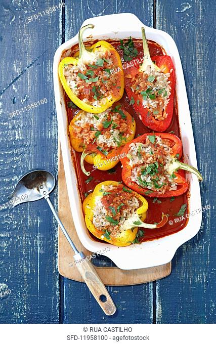 Peppers filled with minced meat and rice in a tomato sauce