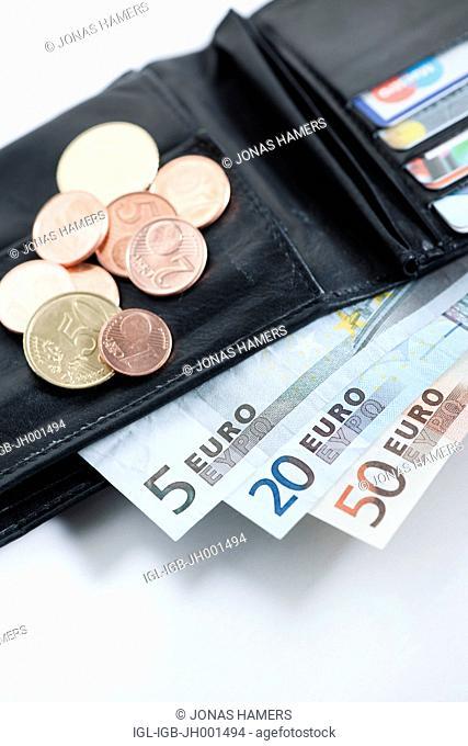 Various euro banknotes in a wallet