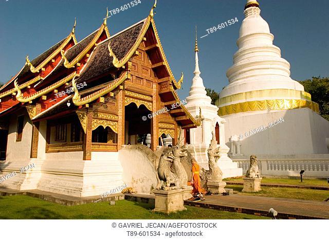 Monk at Wat Phra Singh Chiang Mai Thailand