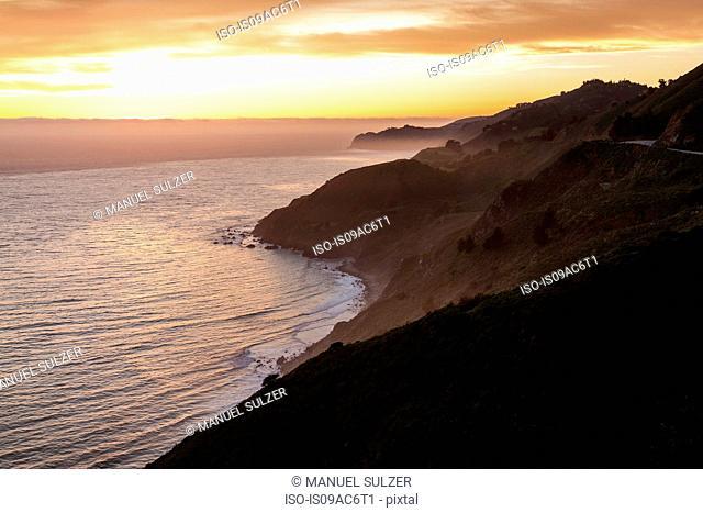 Big Sur National Park at sunset, California, USA