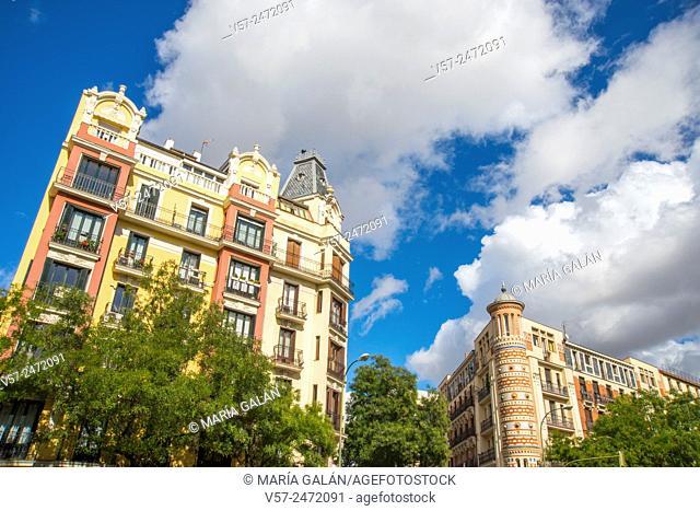 Buildings in Alcala street. Madrid, Spain
