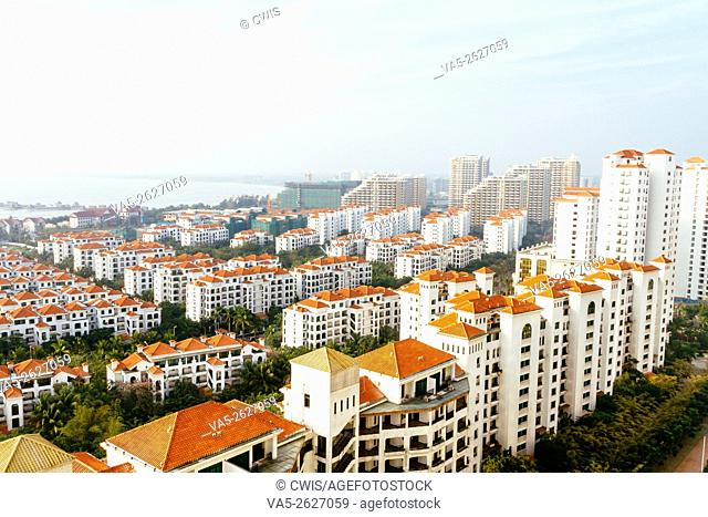 Wenchang, Hainan Island, China - The view of many new buildings at this small town, most of them are unsold