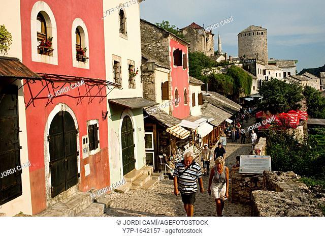 Cobbled street known as Kujundziluk in Mostar old town Bosnia- Herzegovina  Balkans Europe