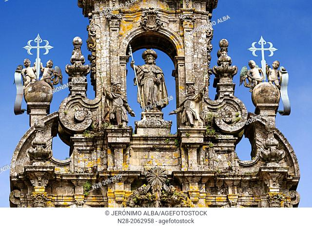 Statue of St James the Apostle on the top of the cathedral façade, World Heritage Site, Santiago de Compostela, Way of St James, A Coruña province, Galicia