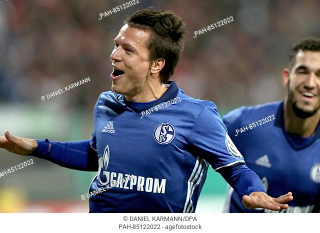 FC Schalke player Yevhen Konoplyanka celebrates after giving his team a 1:0 lead in the second round DFB-Pokal match between FC Nuremburg and FC Schalke 04 in...