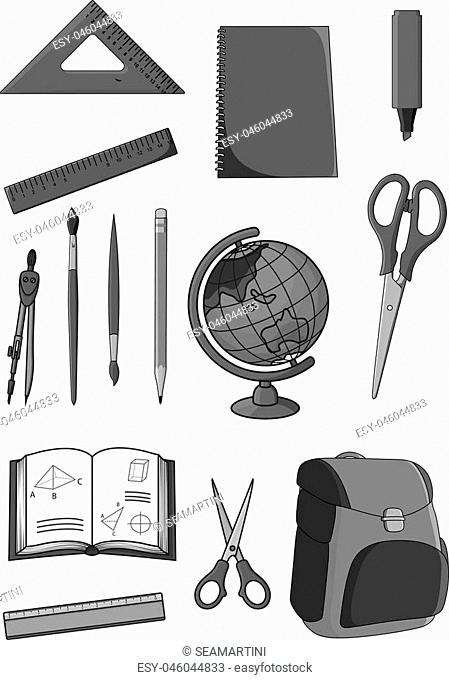 School supplies and classes stationery icons set. Vector isolated symbols of geometry rulers and dividers, scissors and paint brushes or highlighter pencil