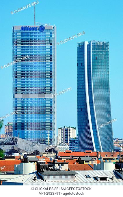 Milan, Italy, the new skyline with Citylife skyscrapers, view from Monte Stella park, on summer 2017