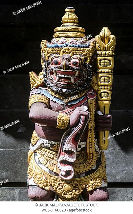 traditional ancient balinese hindu statues in bali temple indonesia