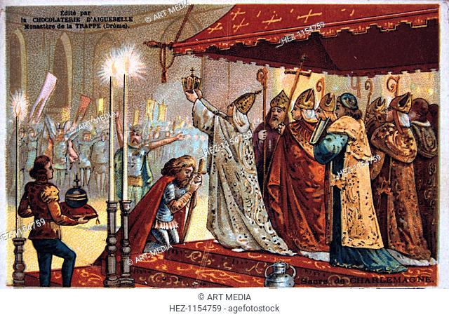 The Crowning of Charlemagne, 800 AD, (19th century). Charlemagne (c742-814), king of the Franks (768-814) was crowned Holy Roman Emperor in 800 AD by Leo III